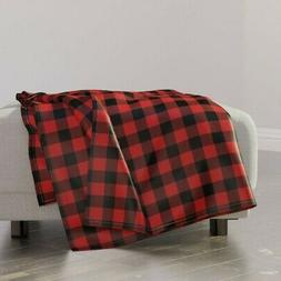 Throw Blanket Gingham Christmas Red And Black Buffalo Check