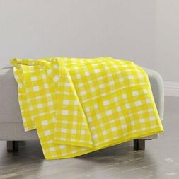 Throw Blanket Gingham Sunshine Watercolor Mod Country French