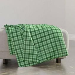 Throw Blanket Green Plaid Gingham Art Deco Mid-Century Retro