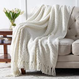 """Throw Blanket Knit Woven Chenille Blanket for Chair 50 x 60"""""""