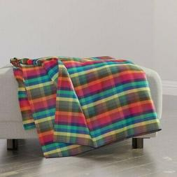 Throw Blanket Madras Check Gingham Fall 48 x 70in
