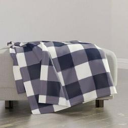 Throw Blanket Navy Gingham Plaid Blue Buffalo Check Modern N
