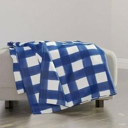 Throw Blanket Navy Watercolor Check Gingham Buffalo 48 x 70i