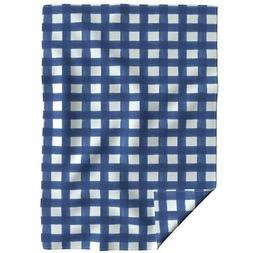 Throw Blanket Navy Watercolor Gingham Buffalo Check 48 x 70i