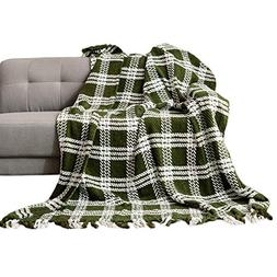 HollyHOME Throw Blanket Plaid Stripe Knitting 60x70 Inches L