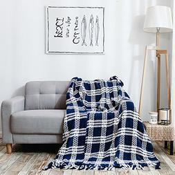 HollyHOME Throw Blanket Plaid Stripe Knitting 60x70 Inches L