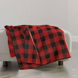 Throw Blanket Red And Black Check Woodland Camping Buffalo G