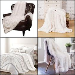 Throw Blanket Soft Long Shaggy Fuzzy Fur Faux Warm Fluffy Sh