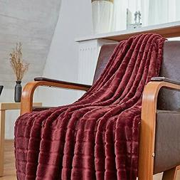 Bertte Throw Blanket Super Soft Cozy Warm Blanket |Burgundy)