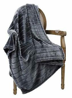 Ultra Velvet Plush Super Soft Decorative Stripe Throw Blanke