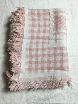 Throw Blanket Tea Rose Pink Checkered Beacon Hill USA NIP Co