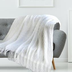 Boritar Throw Blanket Textured Solid for Sofa Decorative Kni
