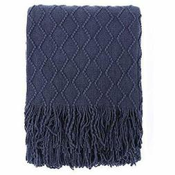 Throw Blanket Textured Solid Soft Sofa Couch Decorative Knit