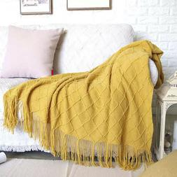Boritar Throw Blanket Warm Knit Textured Solid for Winter Be