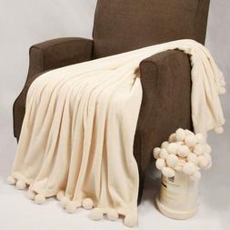 Throw Blanket With Pom Poms Home Soft Things Boon Pompom Bed