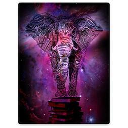 Throw Blankets Fleece Blanket for Sofa Bed Mandala Elephant