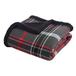 "Throw Blankets Eddie Bauer 50X60"" Inches Gray Barn Red Black"