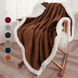 Throw Sherpa Flannel Fleece Blanket Extra Soft Reversible 50