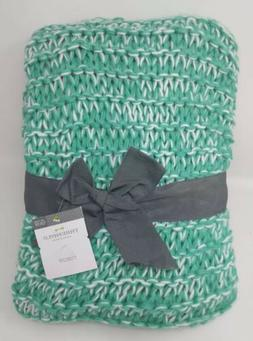 "Threshold Throw Turquoise Chunky Knit 50"" x 60"" Green White"