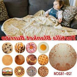 Tortilla Blanket Burrito Food Beach Blanket Round Corn and F
