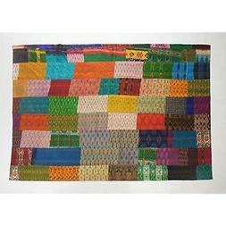 "Traditional Patola Kantha Throw Blanket 50""X70"" Multi Home K"