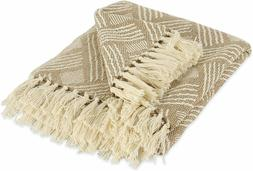 """DII Transitional Basketweave Woven Throw Blanket, 50"""" x 60"""","""