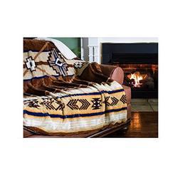"1pc 60x80"" Tribal Tan Brown Southwest Throw Blanket, Aztec P"