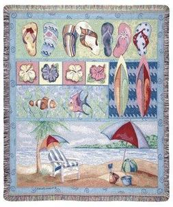 Tropical Flip Flops Beach Umbrella Fish Tapestry Throw Blank
