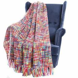 Battilo Tropical Style Multi-Color Rainbow Throw Blanket 63""