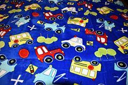 NEW TRUCKS, CARS & SCHOOL BUS BLUE COLOR PLUSH MINK BORRE