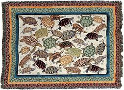 "Turtles Blanket 70"" x 54 "" 100% Cotton. Tapestry Afghan Thro"