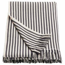 """Ikea TUVALIE Soft Throw Blanket 100% Cotton 47"""" x 71"""" White,"""