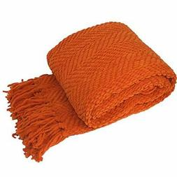 Tweed Knitted Throw Blanket, Burnt Orange