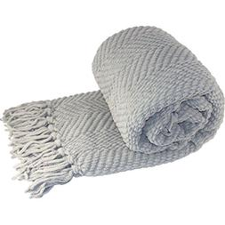 Tweed Knitted Throw Blanket, Silver
