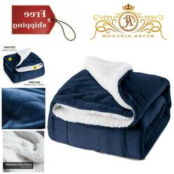 Twin Size Sherpa Fleece Fuzzy Soft Blanket Navy Blue Plush T