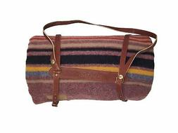 Pendleton Twin Wool Camp Blanket with Leather Carrier - Red