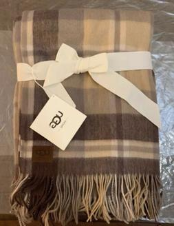 UGG Glacier Fringed Plaid Wool Throw Blanket rectangular 50""