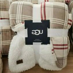 UGG Oversized Reversible Throw Blanket in Oatmeal Plaid Redw