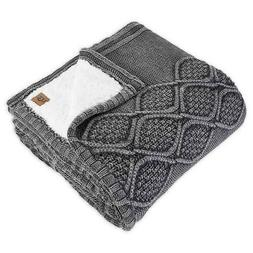 """UGG Throw Cable Knit Sherpa Blanket in Charcoal Grey 50""""x70"""""""