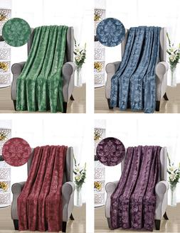 Ultra Plush Embossed Versailles Damask Fleece Throw Blankets