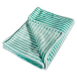 DII Super Soft Plush Flannel Fleece Stripe Blanket Throw For