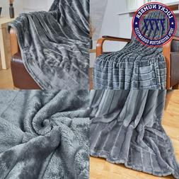 Bertte Ultra Velvet Plush Super Soft Decorative Stripe Throw