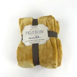 Berkshire Ultra VelvetLoft Plush Throw Blanket Mustard Yello