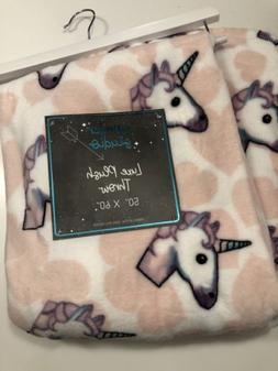 Unicorn Emoji plush throw blanket 50 x 60 inches NEW NWT