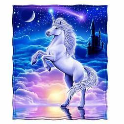 Dawhud Direct Unicorn Fleece Throw Blanket
