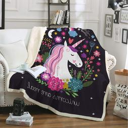 Unicorn Fleece Throw Blanket Bedding Soft Warm Velvet Plush