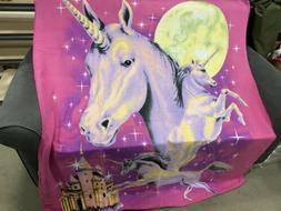 Unicorn Horn Moon Castle Purple Stars Sky Soft Fleece Throw