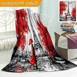 Unique Custom Flannel Blankets Oil Painting Paris European C