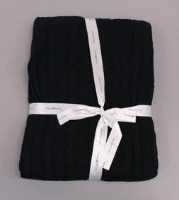 NTBAY Unisex Solid Cotton Cable Knit Throw Blanket SH3 Navy