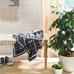 "Safavieh Unity Gingham Knit Throw Blanket Grey 50"" x 60"""